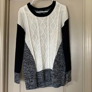 Love always black and white sweater
